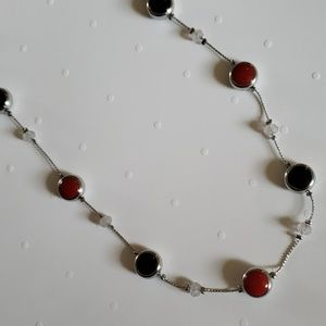 "Navy and Red necklace 19"" long"
